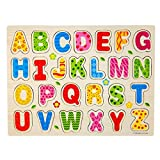 Hot Sale! Canserin 26pcs Wood English Letters Jigsaw Toys Alphabet Puzzle Educational Toy