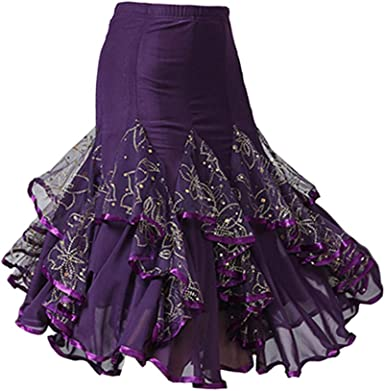 IPOTCH Falda Midi Volante para Baile Flamenco - Púrpura, talla ...
