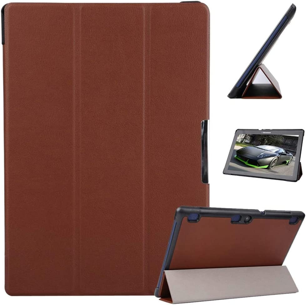 "for Lenovo Tab2 10.1 A10-70F Case, Ultra Lightweight Smart Slim Shell Stand Cover Case for Lenovo Tab 10 TB-X103F, Tab 3 10.1 TB3-X70F X70M X70L Tab3 10.1"" +1x Clear Soft Screen Protector (Brown)"