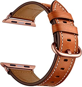 CINORS Leather Watch Band Compatible with Apple iWatch 38mm 40mm Women Genuine Leather Replacement Bands for Series 6 5 4 3 2 1 Brown Strap Rose Gold Adapter 38 40