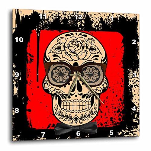RinaPiro - Sugar Skull - Day of the Dead. Sunglasses. Bow tie. Unique design. - 10x10 Wall Clock - Sugar & Sunglasses