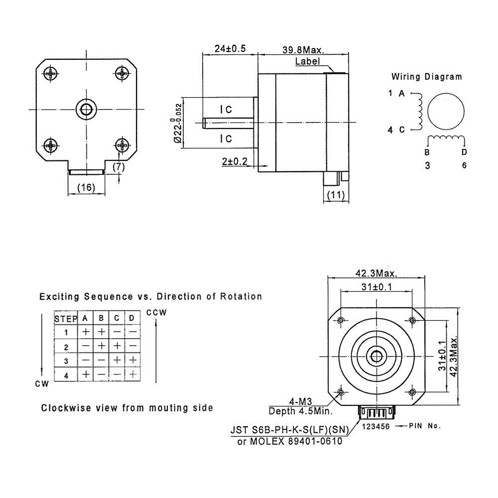 /40/42/ Stampante 3D motore /34/motore con cavo per Estrusore x y Axis CNC RepRap Creality cr-10/10s Ender 3/Maker Select mini Prusa i3/e pi/ù 1 42-34 Fysetc Nema 17/stepper Motor 42/