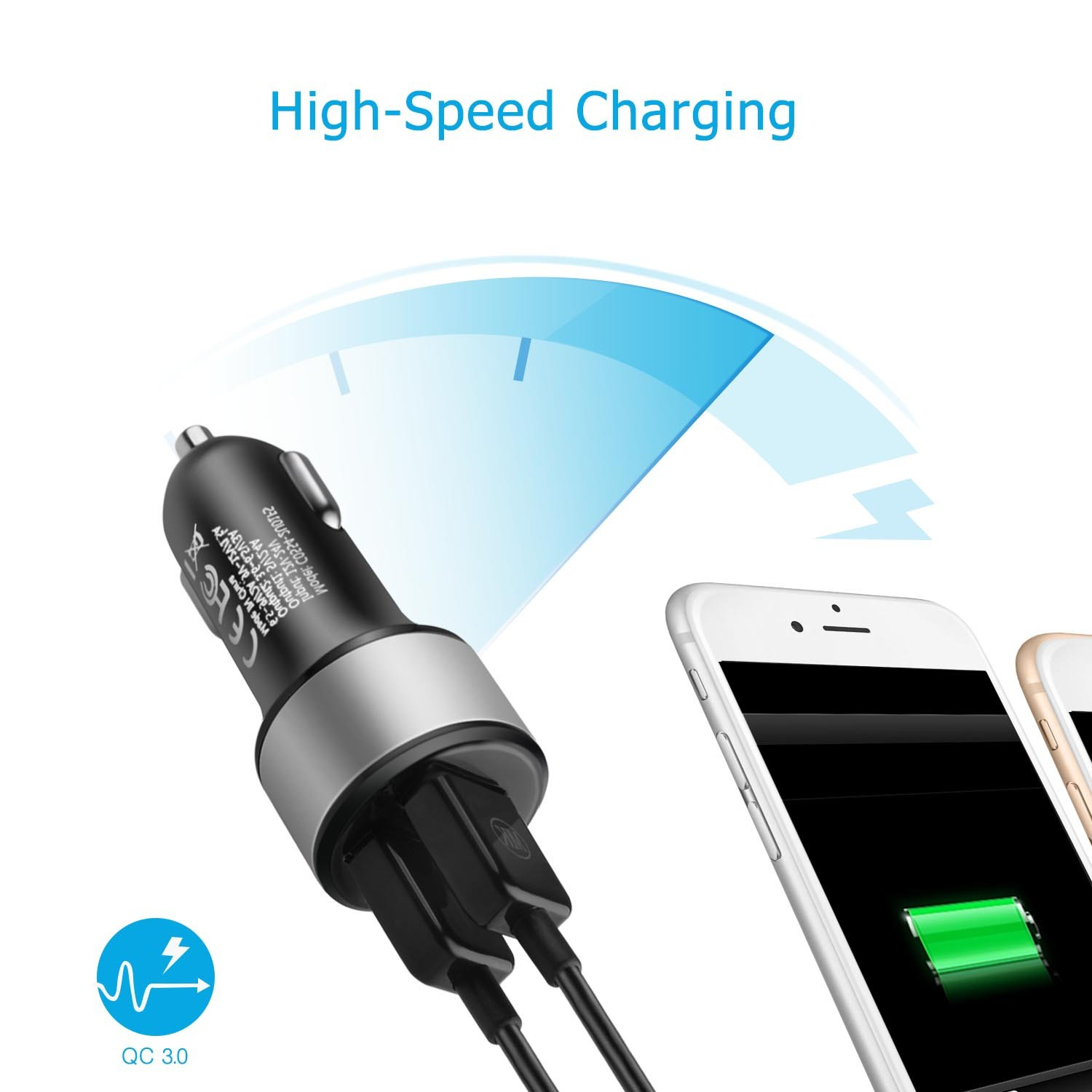 Amazon.com: TNP Dual USB Port Car Charger with Quick Charge 3.0 Smart Fast Charge Port Power Adapter for iPhone X/8/7/Plus, iPad Pro/Air/Mini, ...