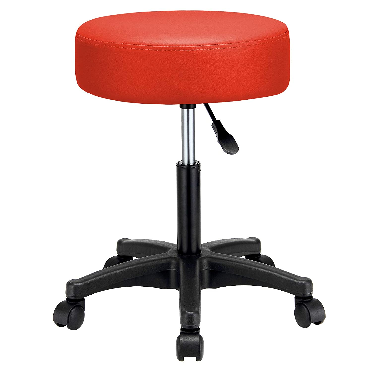 Deuba® Swivel Chair, Work Stool, Beauty Roller Stool, Extra Thick 10cm Padding Height Adjustable 5 Castors PU Leather Chrome - Colour Choice