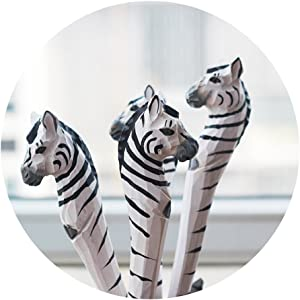 Home-organizer Tech Wood Cartoon Pens Ballpoint Gel Ink Writing Pen Office School Students Pen Zoo Animals Collection - Great Affordable Gift For Kids and Adults (Zebra)