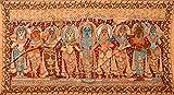 Lord Krishna with Rukmini, Satyabhama and Sakhis - Kalamkari Painting on Cotton