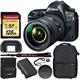 Canon EOS 5D Mark IV DSLR Camera + EF 24-105mm f/4L IS II USM Lens + Transcend 128GB UHS-1 SDXC Memory Card (Speed Class 3) + Vivitar Series 1 Trolley Camera Backpack + Lens Cap Holder – Valued Bundle