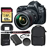 Canon EOS 5D Mark IV DSLR Camera + EF 24-105mm f/4L IS II USM Lens + Transcend 128GB UHS-1 SDXC Memory Card (Speed Class 3) + Vivitar Series 1 Trolley Camera Backpack + Lens Cap Holder – Valued Bundle For Sale