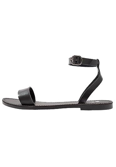 Even Odd Damen Sandale mit Fessel Riemen Sandaletten mit Flachem Absatz  Damensandalen Aus Hochwertigem Lederimitat. a7bf383df1