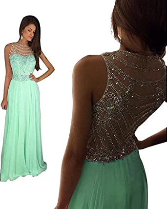 531998fbe8 Still Waiting Women s Sparkly Crystal Prom Dresses Long 2018 Beading  Chiffon Wedding Party Gowns Formal XY003Mint