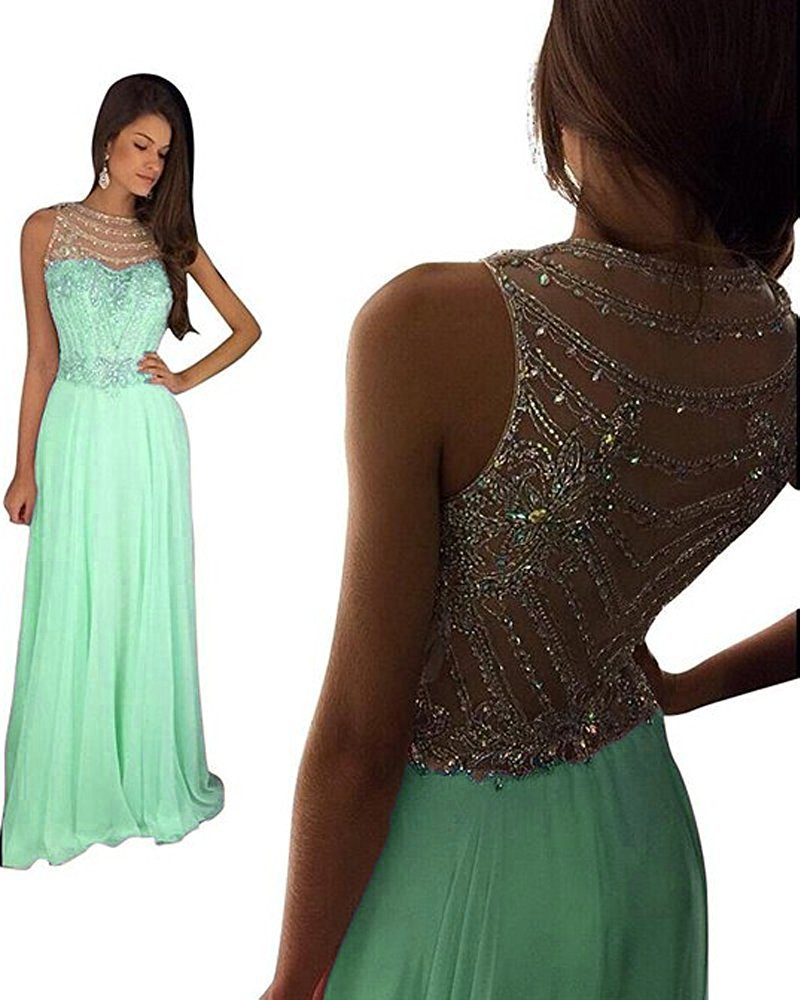 Still Waiting Women's Sparkly Crystal Prom Dresses Long 2018 Beading Chiffon Wedding Party Gowns Formal XY003Mint Green-US2