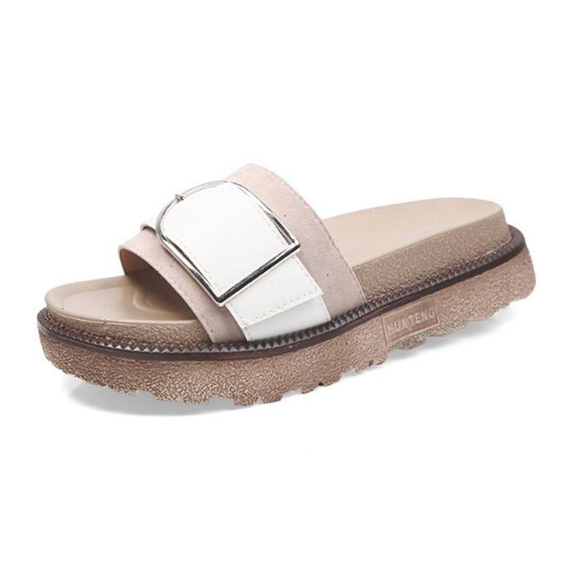 ZHONGST Damen Sommer Sandalen Plateau Sandalen Flachen Sandalen Casual Sandalen  36|Pink