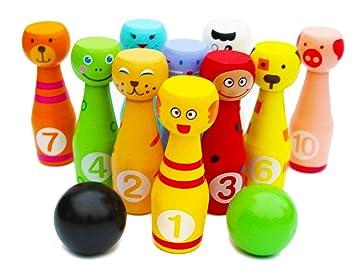 8bcc0e3bccf Toys of Wood Oxford Juego de Bolos de Madera con 12 Bolos de Colores -  Bolos de Juguete con números para ...