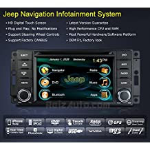 2007-2014 Jeep Wrangler 2008-2013 Jeep Liberty In-Dash GPS Navigation Stereo DVD CD MP3 AVI USB SD Radio Bluetooth Hands-free Steering Wheel Controls Touch Screen iPod-Ready iPhone-Ready AV Receiver Video Audio Player Multimedia Infotainment System w/ Digital TV Rear View Camera OEM Replacement Deck
