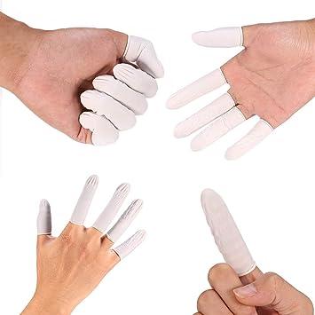 100 x Work Latex Rubber Finger Cots Finger cots Protectors Powder Free MEDIUM QC