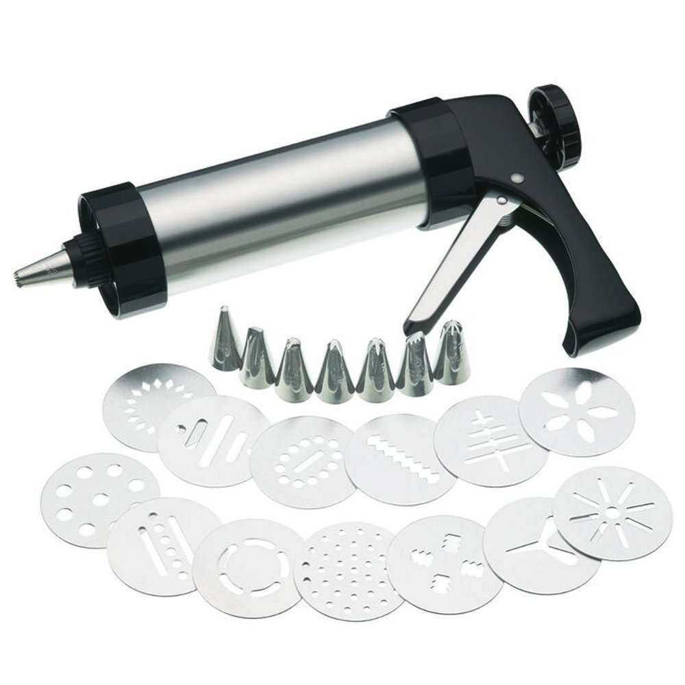 Stainless Steel Cookie Press/Icing Decorating Gun Sets for Biscuit/Cake Decoration (22 Pieces)