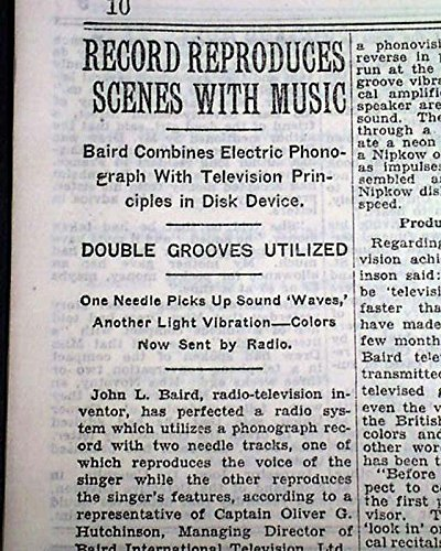 Early TELEVISION John Logie Baird TV Invention w/ Photos 1928 Old NYC Newspaper THE NEW YORK TIMES, July 22, 1928