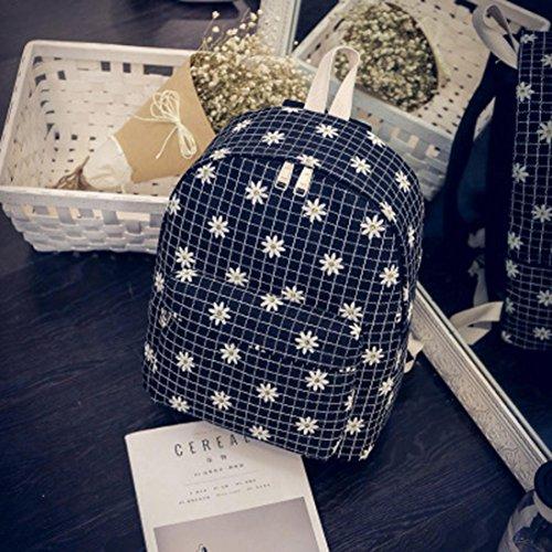 Clode® Las mujeres de moda Causal Floral crisantemos lona rejilla bolso mochila Negro