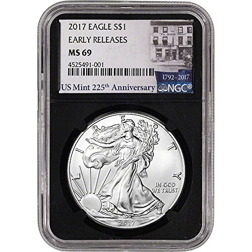 2017 American Silver Eagle (1 oz) Early Releases 225th Ann Label Black Core $1 MS69 NGC