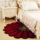 Cheap MAXYOYO 3D Colorful Semi-circular Flower Floor Mats for Bedroom, Beautiful Fan-shaped Bedside Rug Runner South Korea Bright Fluffy Silky Carpet Pad 32 by 59 Inch