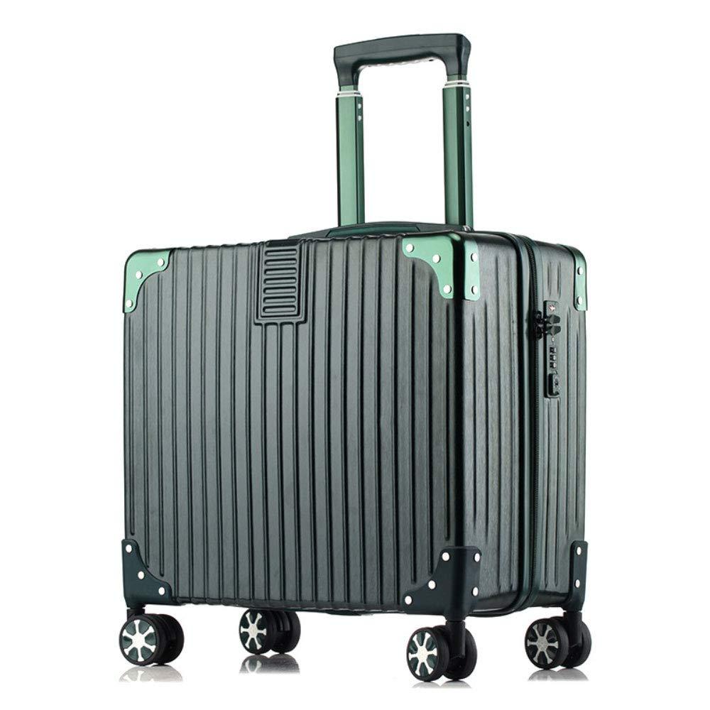 荷物ユニバーサルホイールミニトロリーケース18インチのパスワードのスーツケース (Color : ダークグリーン だ゜くぐり゜ん)   B07R1XMSC5