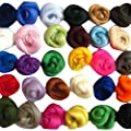 SOLEDI Fibre Wool Yarn Roving, Set of 36 Colors by Soledi