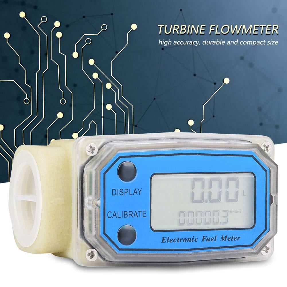 Flow Water Meter 15-120L//min 1 NPT Digital Fuel Meter Water Flow Meter Diesel Oil Fuel Flow Meter Fuel Flow Meter Turbine Flow Meter