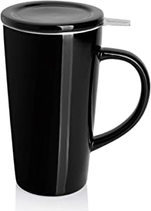 Sweese 202.112 Porcelain Tea Mug with Infuser and Lid, Ceramic Coffee Cocoa Cup Set for One, Taller and Large, 18 OZ, Black