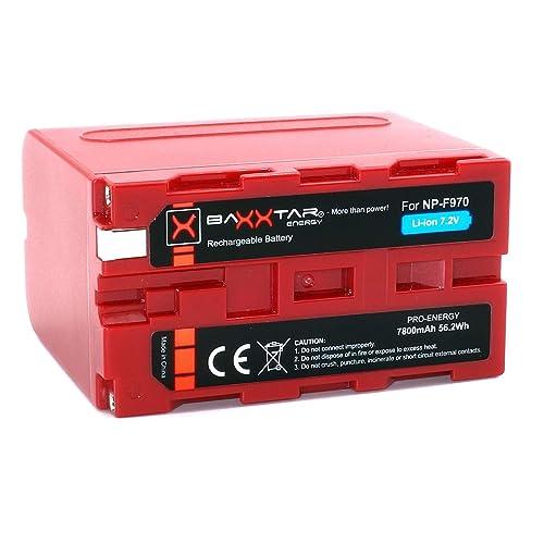 """BAXXTAR PRO ENERGY Batterie de qualité pour Sony NP-F970 - LG Cells inside - (7800mAh) avec Info Chip - Système de batterie intelligent """"prochaine génération"""""""