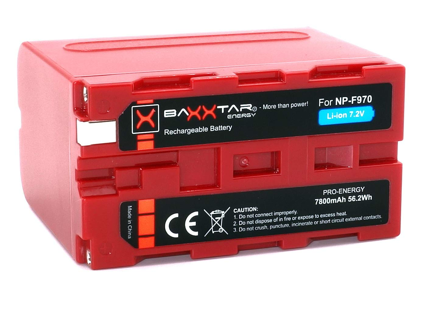BAXXTAR PRO - Replacement Battery for Sony NP-F970 (with real 7800mAh)