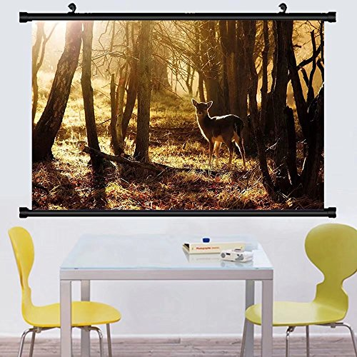 Gzhihine Wall Scroll Cabin Decor Young Deer at Sunset the Forest National Park Outdoors Netherlands Photo Wall Hanging Yellow Brown - At Park Outlets Deer