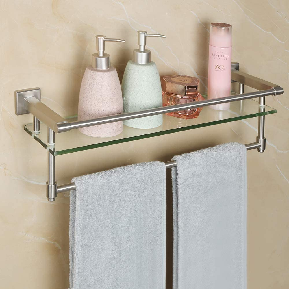 Alise Shower Glass Shelf SUS 304 Stainless Steel Bathroom Wall Shelves with 2 Towel Bars Wall-Mount,Brushed Finish,GK9020