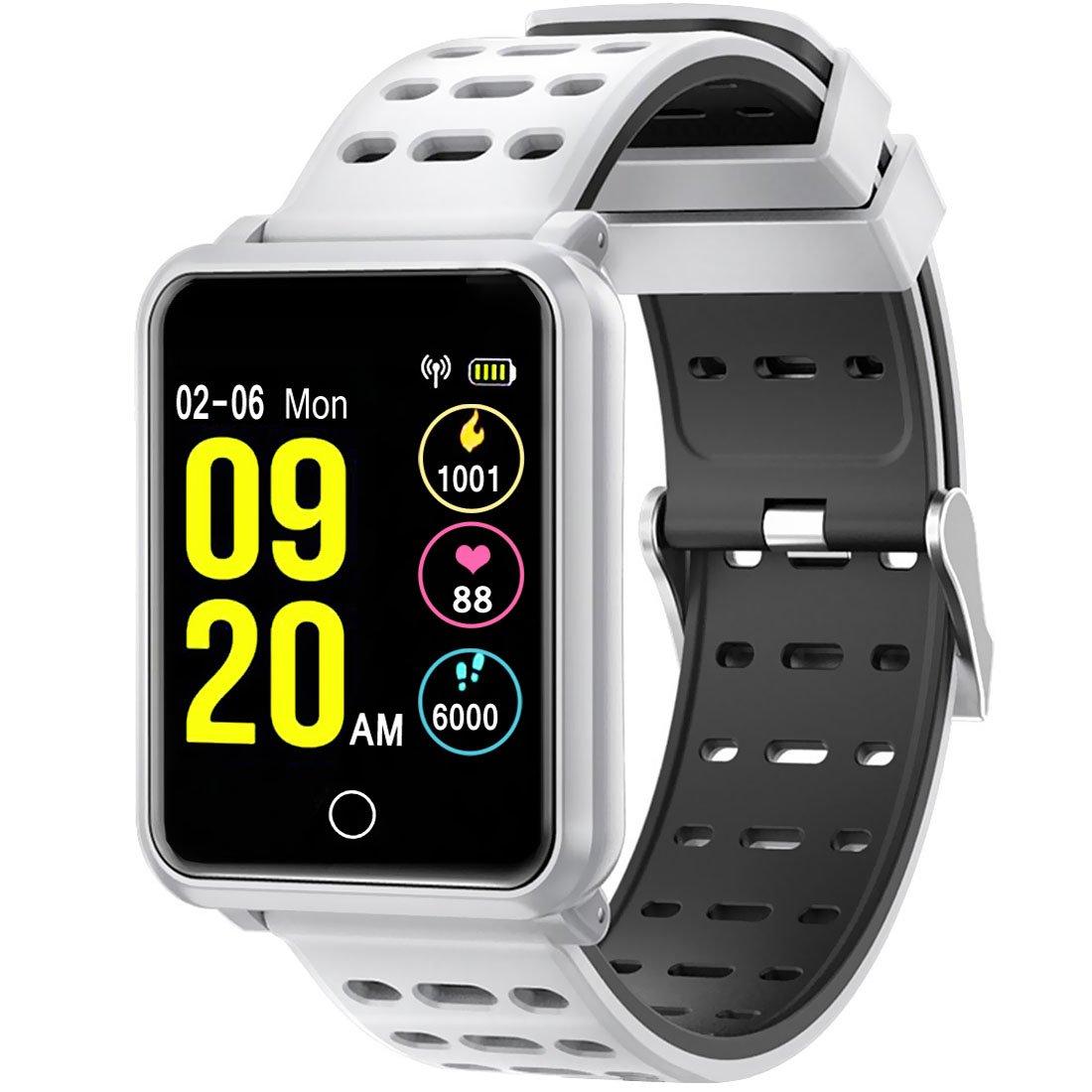 LCDカラースクリーンスポーツウォッチ、パード血圧心拍数睡眠モニターリストバンド、iOS用フィットネストラッカー、ホワイト B07DVH5MHH