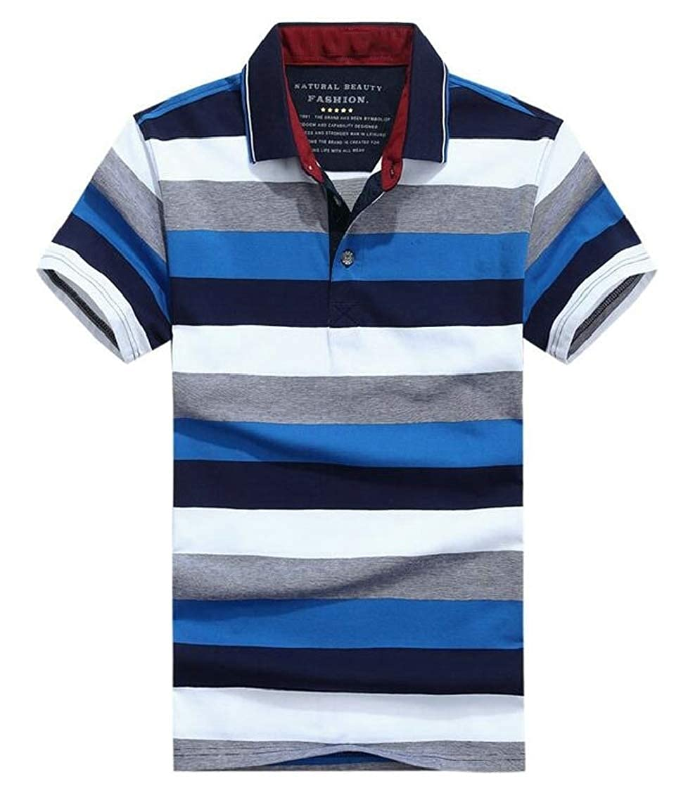 YYear Mens Classic Striped Contrast Color Cotton Short Sleeve Polo Shirts