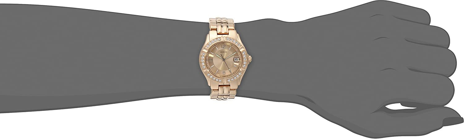 GUESS Women's Stainless Steel Two-Tone Crystal Accented Watch Rose Gold Tone