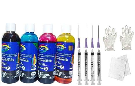 GoColor Compatible Refill Ink 4 Color in 100Ml Packing For HP Deskjet  amp; Inkjet Printer Cartridge  amp; CISS with Syringe Needle Gloves Napkin Inks