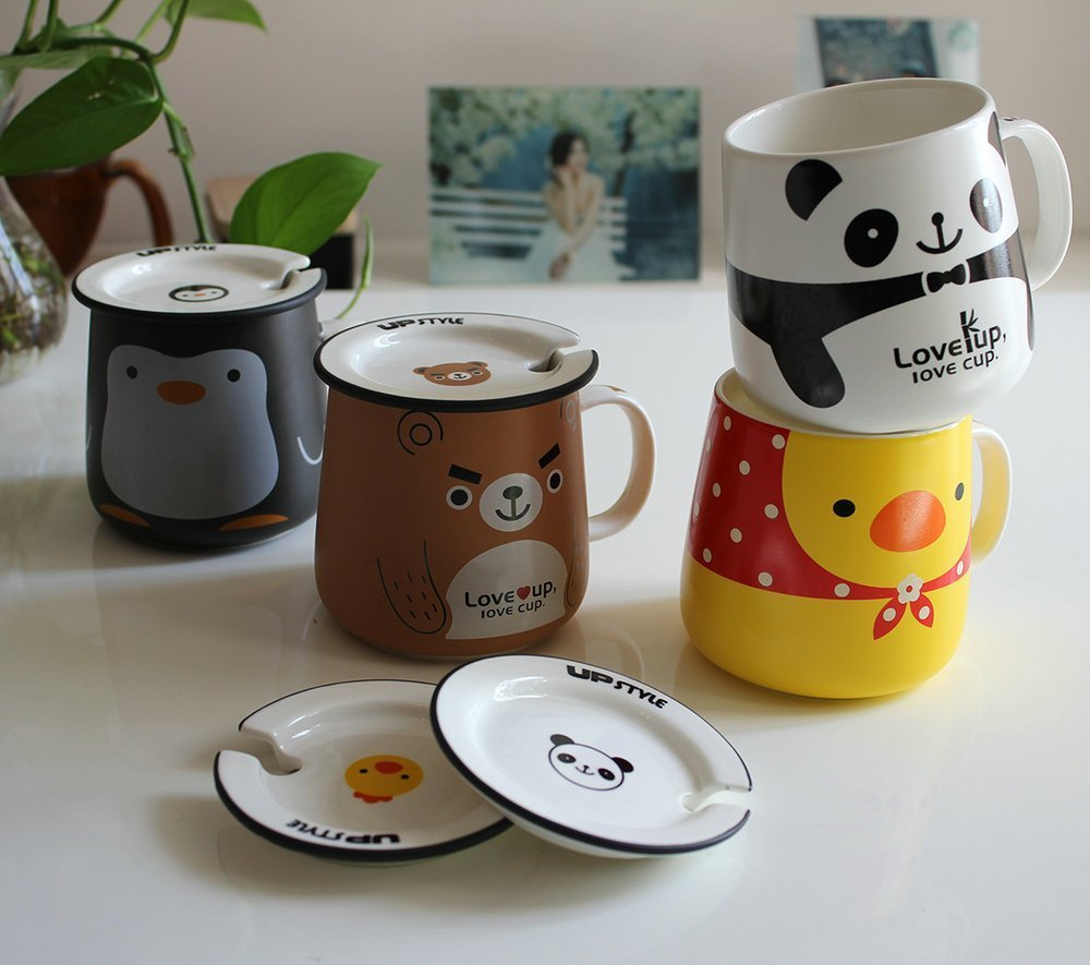 UPSTYLE Cute Animal Penguin Tea Mug Funny Lovely Tea and Coffee Mug Morning Coffee Milk Ceramic Water Cup with Lid and Handle for Office home - Best Gift for friends and family,10.8OZ(320ml)(Bear) by UPSTYLE (Image #7)