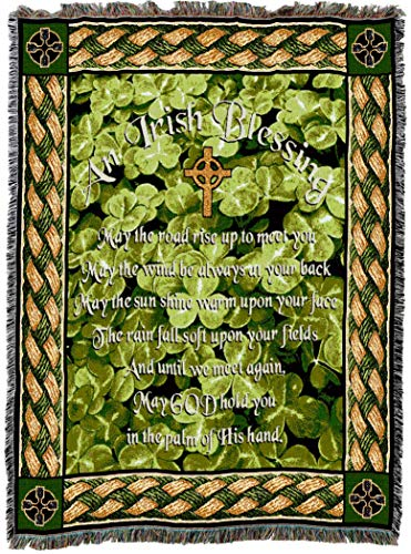 Pure Country Weavers | Irish Blessing May The Road Rise Up to Meet You Poem Woven Tapestry Throw Blanket with Fringe Cotton USA 72x54