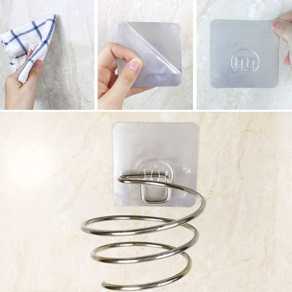 Mensola per asciugacapelli Adesiva Supporto per asciugacapelli da Parete per Bagno e Barbiere in Acciaio Inox a Spirale R-WEICHONG