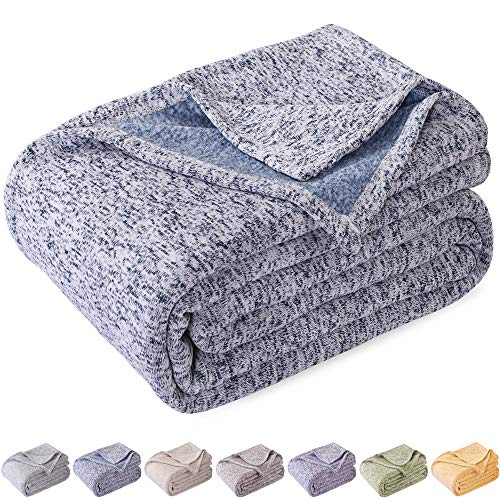 Kawahome Knit Blanket Lightweight Warm Fuzzy Heather Jersey Blankets All Season For Couch Sofa Bed King Size 108 X 90 Inches Blue And White