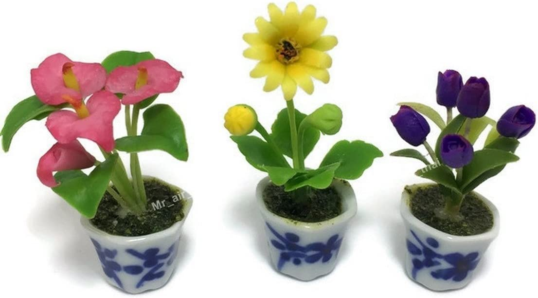 Purple Gerbera Clay Flower Dollhouse Miniature Handmade Collectible Garden