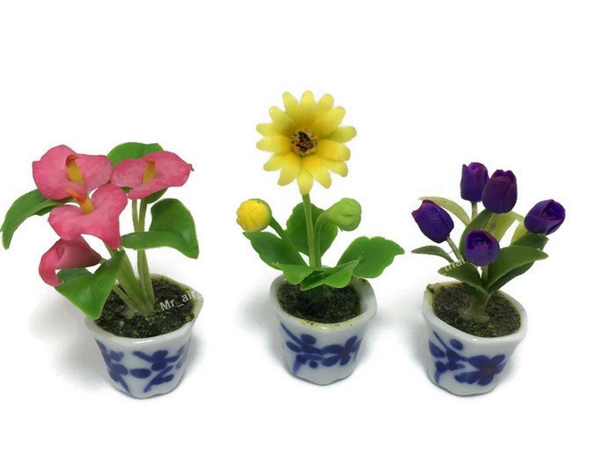 3pc Miniature Flower Clay Dollhouse Fairy Garden Mini Plant Trees Ceramic Paint Furniture Bundles Artificial Flowers Orchid #058