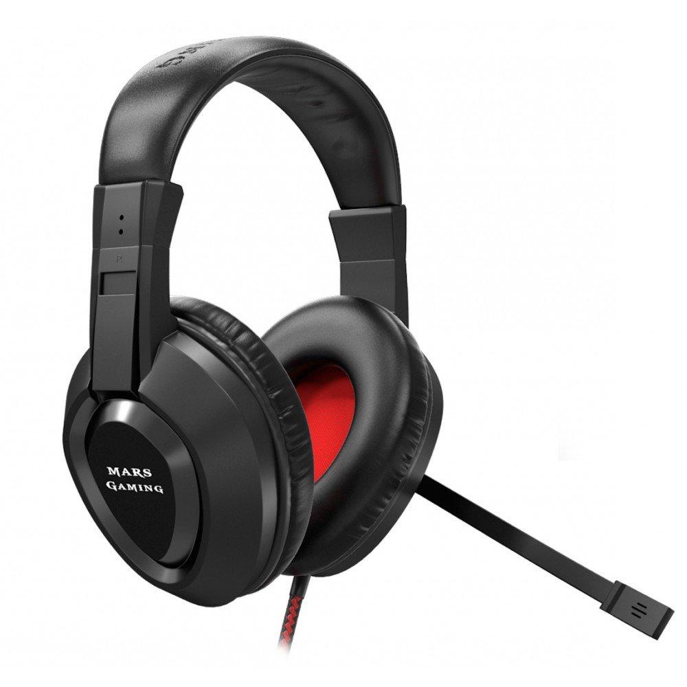 Mars Gaming MH217 - Auriculares gaming (micrófono plegable y flexible, diadema ajustable, drivers neodimio 40mm, ultrabass, cancelación ruido, USB, ...