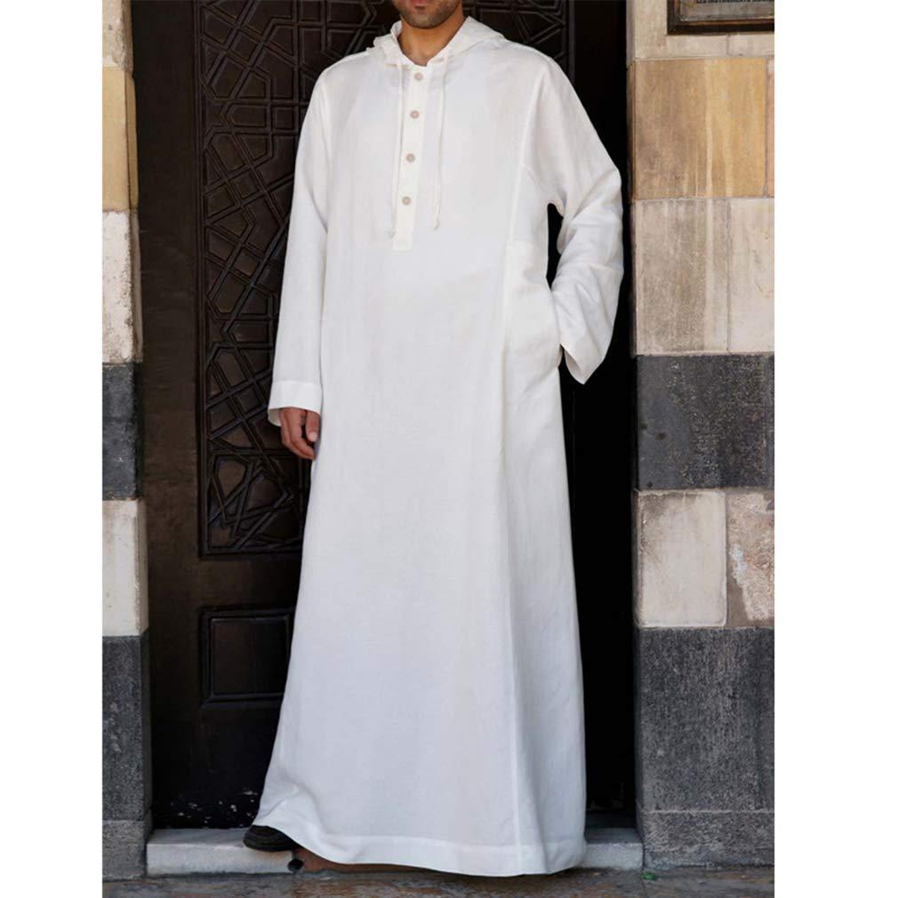 Hombre Medieval T/únicas con Capucha Modest Musulmanes Full Largo Kaftan Abaya Dubai Arabe Jalabiya Manga Larga Thobe Renacentista Estilo Victoriano Ropa con Botones