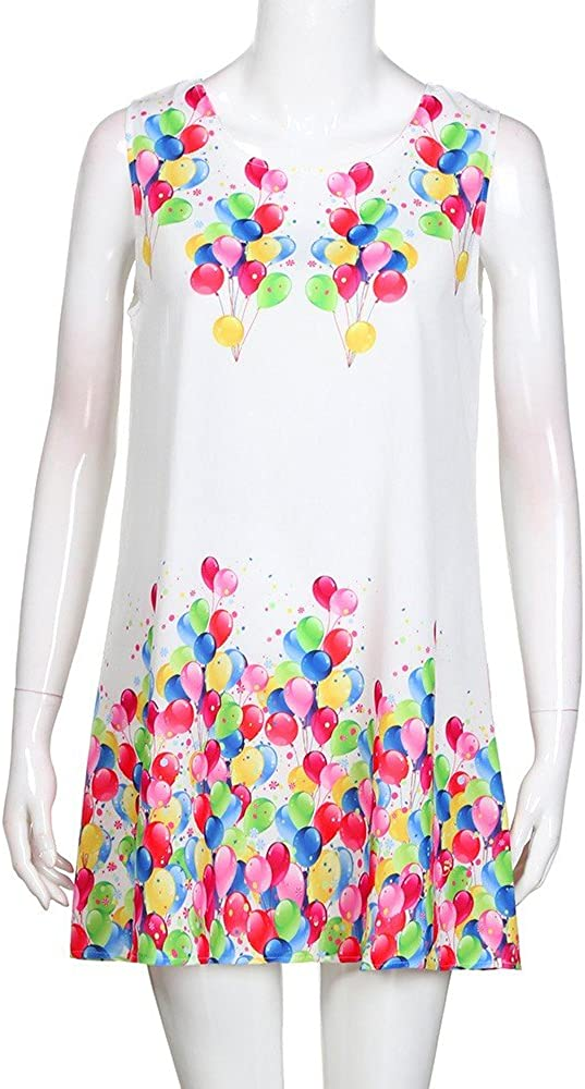 iYmitz Damen Sommer Vintage Boho Ärmelloses Sommerstrand Gedruckt Kurzes T-Shirt Minikleid Blumenkleid Trägerlose Tops Weiß-b1