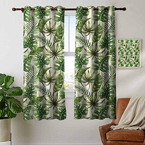 opical,Rainforest Island Jungle Foliage Pattern Green Leaves Retro Nature,Green Olive Green Cream,Wide Blackout Curtains, Keep Warm Draperies,1 Pair 42