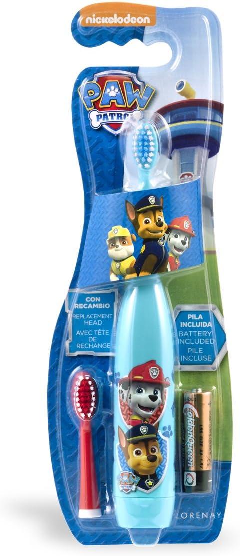 Lorenay LN-1115 - Cepillo de dientes electrico con dos cabezales y pila, estampado Paw Patrol