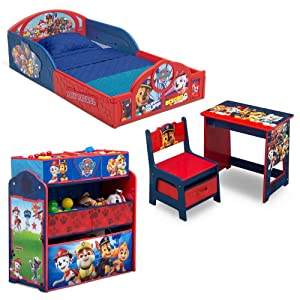 Paw Patrol 4-Piece Room-in-a-Box Bedroom Set - Includes Sleep & Play Toddler Bed, 6 Bin Design & Store Toy Organizer and Desk with Chair
