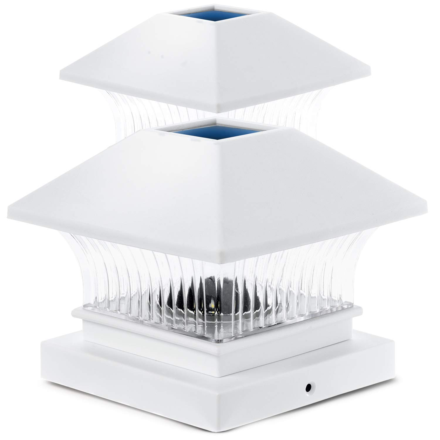 Home Zone Security Solar Post Cap Lights - Outdoor Solar Decorative Post Lights with No Wiring Required, White (2-Pack)