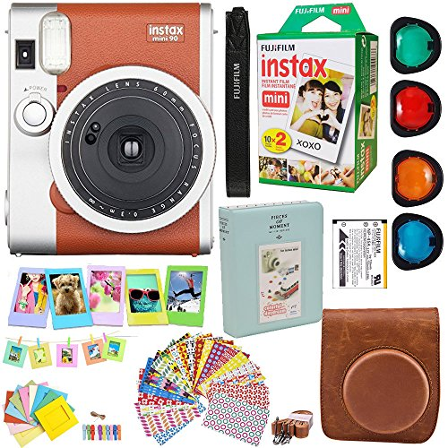 Twin Kit Camera (Fujifilm Instax Mini 90 Neo Classic Instant Film Camera (Brown) + Fuji Instax Film Twin Pack (20PK) + Accessories Kit / Bundle + Fitted Case + 4 Filter Lens + Frames + Photo Album + MORE)